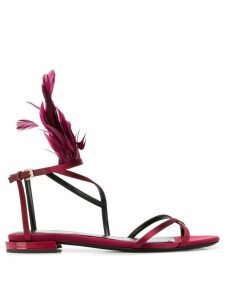 LANVIN feather trim flat sandals - Red
