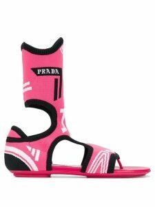 Prada jacquard knit sock sandals - Pink