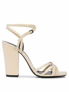 Saint Laurent crisscross strap sandals - Neutrals