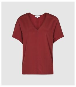 Reiss Sinitta - V Neck Silk Jersey Top in Wine, Womens, Size XL
