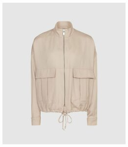 Reiss Immie Jacket - Satin Bomber Jacket in Pale Pink, Womens, Size XL