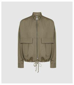 Reiss Immie Jacket - Satin Bomber Jacket in Khaki, Womens, Size XL