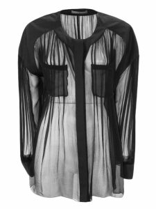 Alberta Ferretti Black Lightweight Semi-sheer Silk Chiffon Shirt