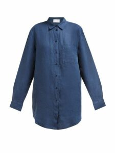 Asceno - Oversized Linen-poplin Shirt - Womens - Navy