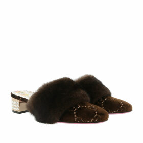 Gucci Loafers & Slippers - Low Heel Sandals Velvet Brown - brown - Loafers & Slippers for ladies