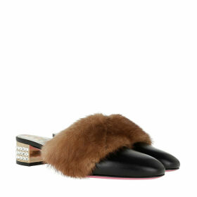Gucci Loafers & Slippers - Block Heels Fur Leather Black/Brown - black - Loafers & Slippers for ladies
