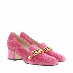 Gucci Pumps - Sylvie GG Mid-Heel Pumps Velvet Pink - magenta - Pumps for ladies