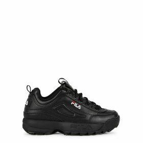 Fila Disruptor II Black Leather Sneakers