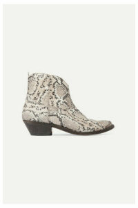 Golden Goose - Young Distressed Snake-effect Leather Ankle Boots - Snake print