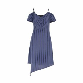 PAISIE - Striped Cold Shoulder Dress With Asymmetric Hem In Navy & Black
