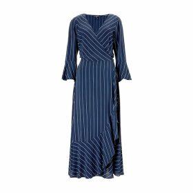 Baukjen - Harriet Wrap Dress In Blue & Slim White Stripe
