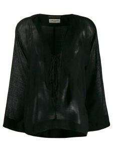 Saint Laurent long-sleeve flared top - Black