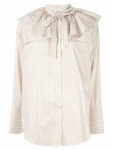 3.1 Phillip Lim ruffle neck stripe shirt - White