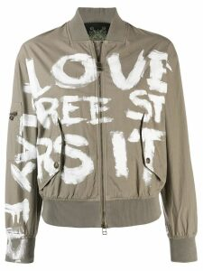 Mr & Mrs Italy painted bomber jacket - NEUTRALS
