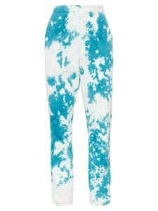 The Elder Statesman marble dyed fleece track pants - Teal/Powder Pink