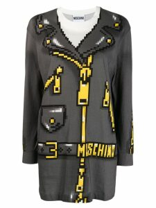 Moschino biker jacket print jumper - Grey