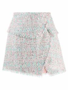 Balmain raw-trimmed tweed skirt - Pink