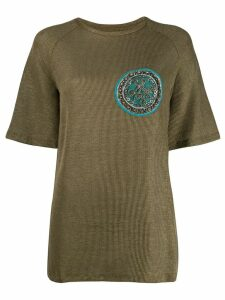 Mr & Mrs Italy embroidered patch top - Green