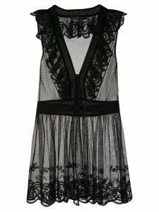 Alexander McQueen sheer longline peplum blouse - Black