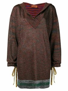 Missoni deep V-neck hooded sweater - Red