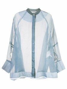 Jil Sander sheer blouse - Blue