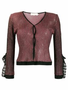 L'Autre Chose metallic ruffled cuff cardigan - Black