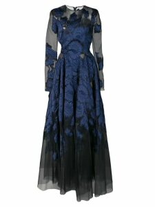 Oscar de la Renta long-sleeved lace gown - Blue