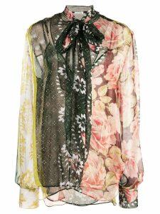 Oscar de la Renta floral print bow tie blouse - Multicolour