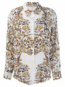 Gold Hawk floral print shirt - White