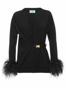 Prada feather trimmed cardigan - Black