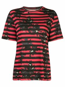 Proenza Schouler Striped Splatter Floral Short Sleeve T-Shirt - Red