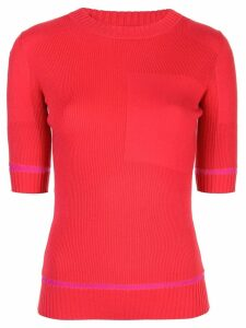 Proenza Schouler Ribbed Knit Short Sleeve Crewneck Top - Red
