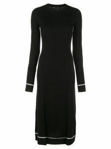Proenza Schouler Ribbed Knit Long Sleeve Dress - Black