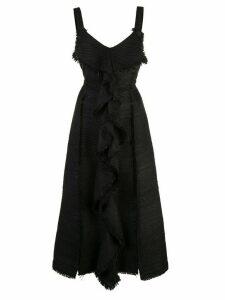 Proenza Schouler S/L Tie Dress-Solid Textured Tweed - Black