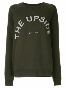 The Upside Skull logo embroidered sweater - Green