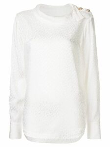 Rebecca Vallance Isobella leopard textured blouse - White
