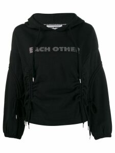 Each X Other logo embellished hoodie with drawstring detailing - Black