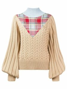 House of Holland tartan Trompe L'oeil jumper - NEUTRALS