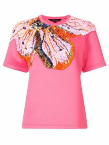 Manish Arora sequin flower T-shirt - PINK