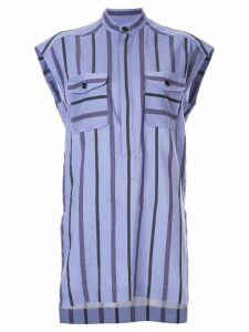 Ujoh band collar striped shirt - PURPLE