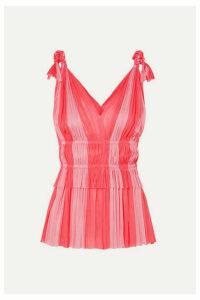 Elena Makri - Aphrodite Two-tone Pleated Silk-tulle Top - Pink