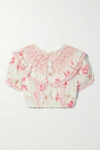 Loewe - Tasseled Pointelle-knit Cotton Sweater - Blue