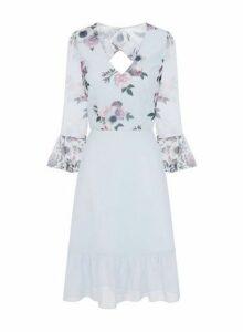 Womens Chi Chi London Blue Floral Printed Midi Dress, Blue