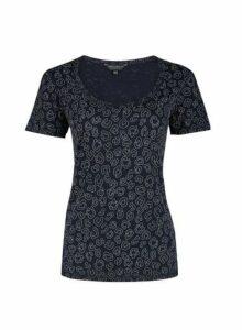 Womens Navy Leopard Puff Print T-Shirt- Blue, Blue