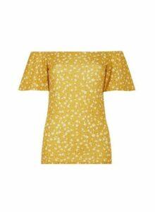 Womens Tall Yellow Ditsy Print Top - Orange, Orange