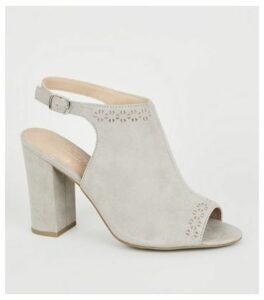 Grey Comfort Flex Laser Cut Heels New Look