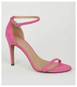 Bright Pink Suedette 2 Part Stiletto Heels New Look
