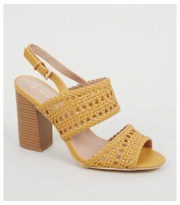 Wide Fit Yellow Woven 2 Part Block Heels New Look