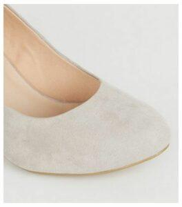 Wide Fit Grey Block Heel Court Shoes New Look Vegan