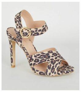 Stone Leopard Print Cross Strap Stiletto Heels New Look